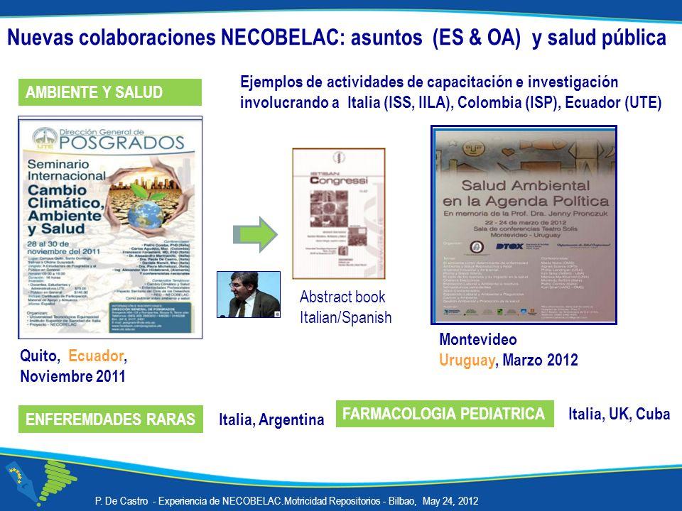 Nuevas colaboraciones NECOBELAC: asuntos (ES & OA) y salud pública
