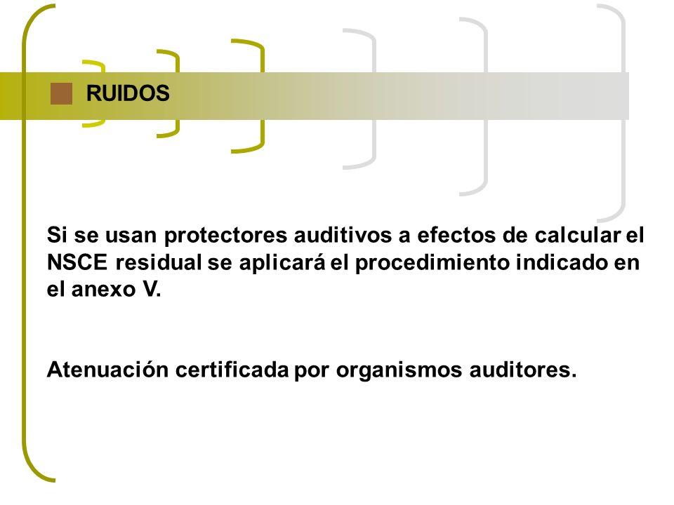 RUIDOS Si se usan protectores auditivos a efectos de calcular el. NSCE residual se aplicará el procedimiento indicado en.