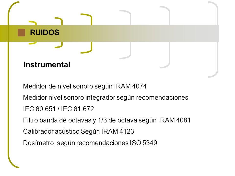 RUIDOS Instrumental Medidor de nivel sonoro según IRAM 4074