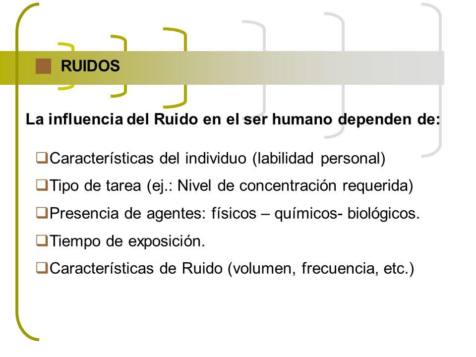RUIDOS La influencia del Ruido en el ser humano dependen de: Características del individuo (labilidad personal)