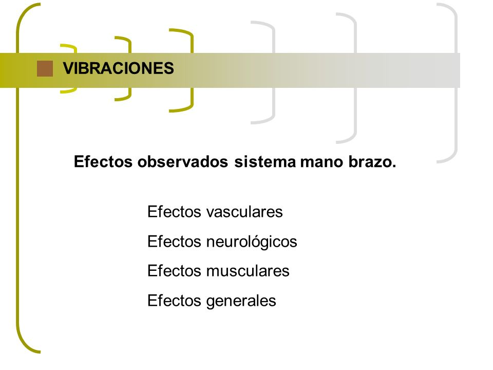 VIBRACIONES Efectos observados sistema mano brazo. Efectos vasculares. Efectos neurológicos. Efectos musculares.