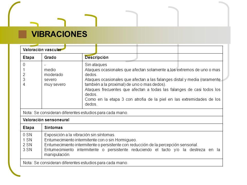 VIBRACIONES Valoración vascular Etapa Grado Descripción 1 2 3 4 -