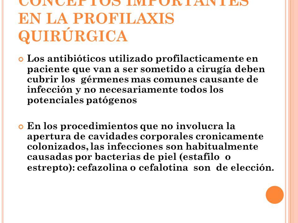 CONCEPTOS IMPORTANTES EN LA PROFILAXIS QUIRÚRGICA