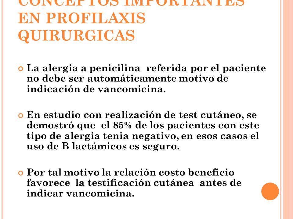 CONCEPTOS IMPORTANTES EN PROFILAXIS QUIRURGICAS