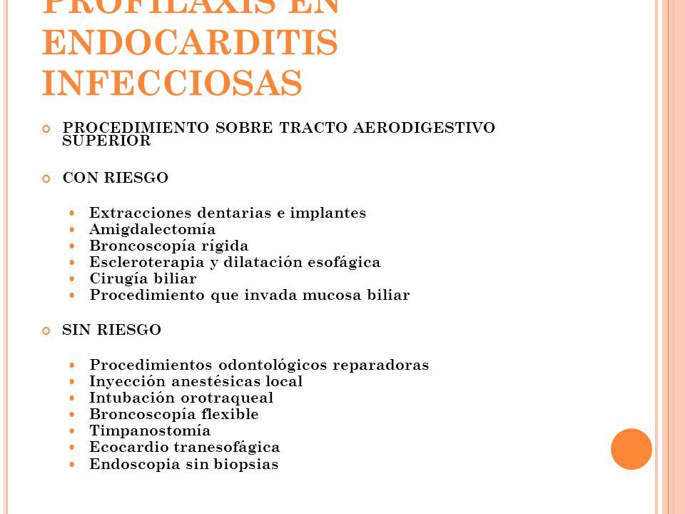 PROFILAXIS EN ENDOCARDITIS INFECCIOSAS