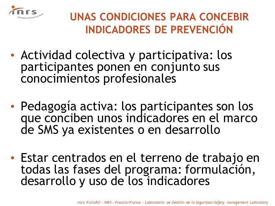 UNAS CONDICIONES PARA CONCEBIR INDICADORES DE PREVENCIÓN