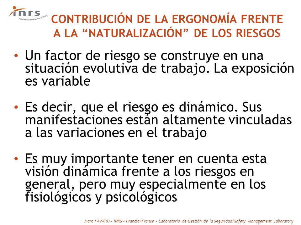 CONTRIBUCIÓN DE LA ERGONOMÍA FRENTE A LA NATURALIZACIÓN DE LOS RIESGOS