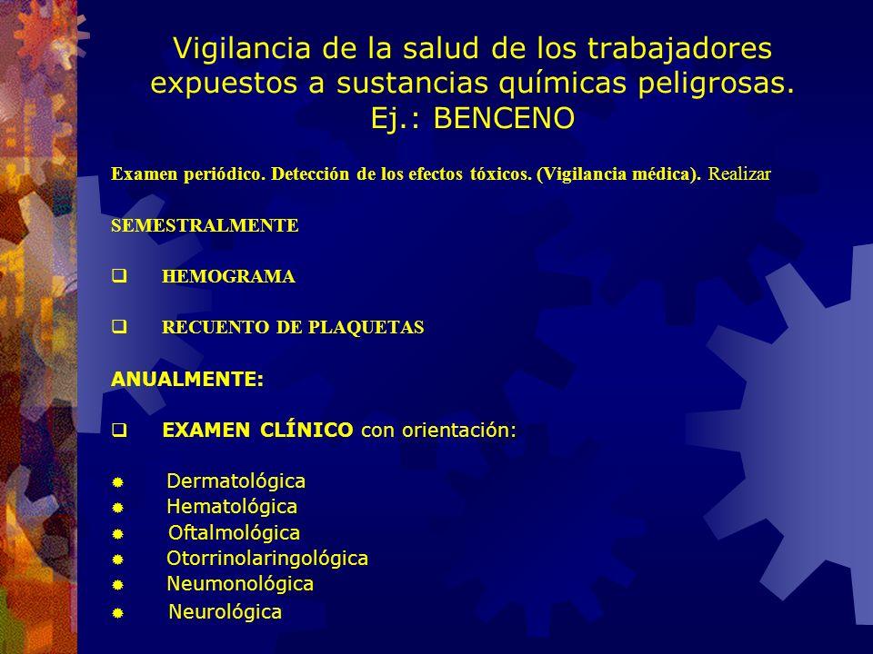 Vigilancia de la salud de los trabajadores expuestos a sustancias químicas peligrosas. Ej.: BENCENO