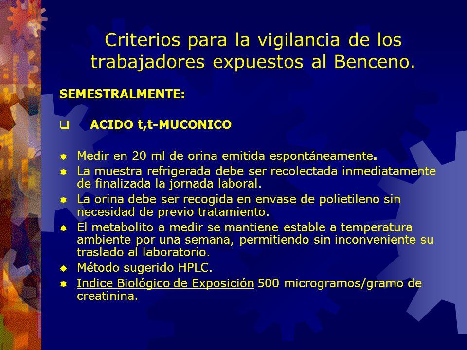 Criterios para la vigilancia de los trabajadores expuestos al Benceno.