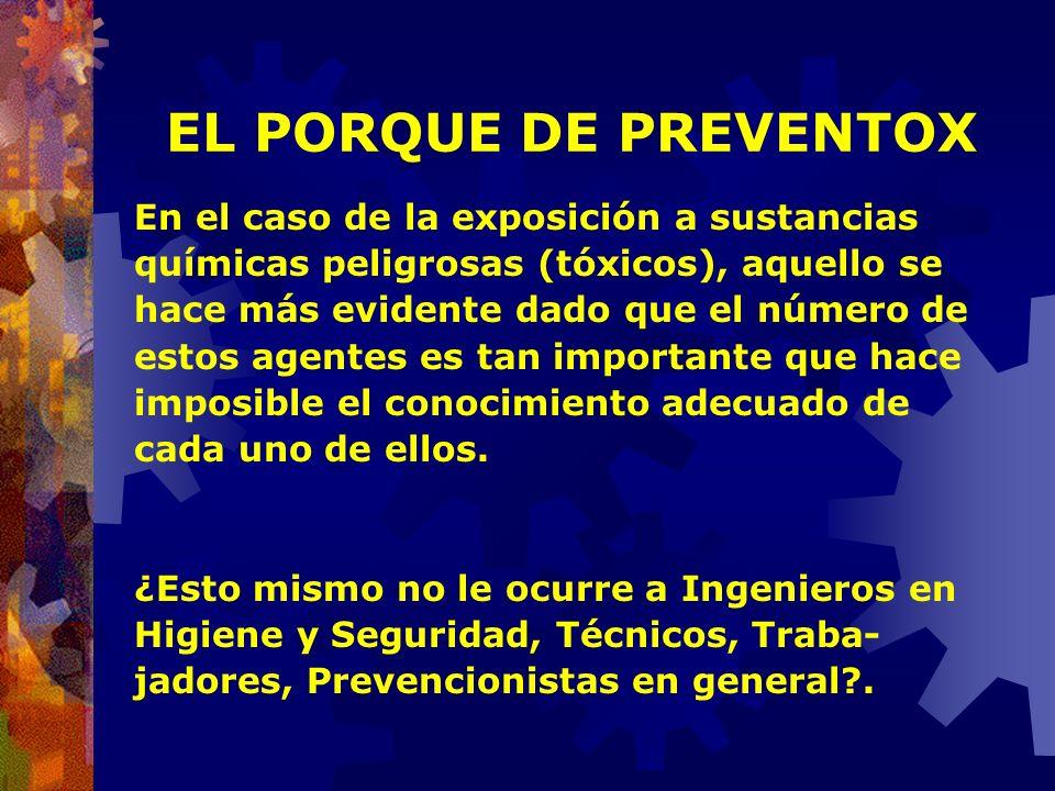 EL PORQUE DE PREVENTOX En el caso de la exposición a sustancias