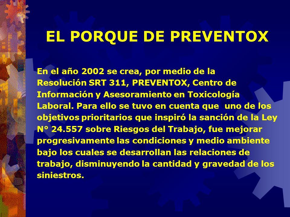 EL PORQUE DE PREVENTOX En el año 2002 se crea, por medio de la