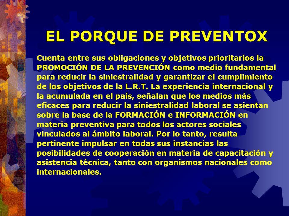 EL PORQUE DE PREVENTOX Cuenta entre sus obligaciones y objetivos prioritarios la. PROMOCIÓN DE LA PREVENCIÓN como medio fundamental.