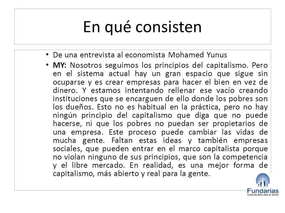 En qué consisten De una entrevista al economista Mohamed Yunus