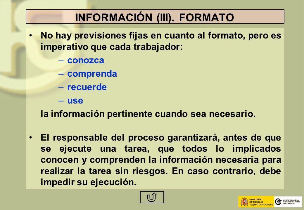 INFORMACIÓN (III). FORMATO