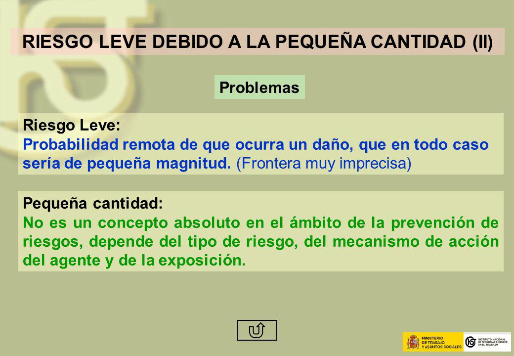 RIESGO LEVE DEBIDO A LA PEQUEÑA CANTIDAD (II)