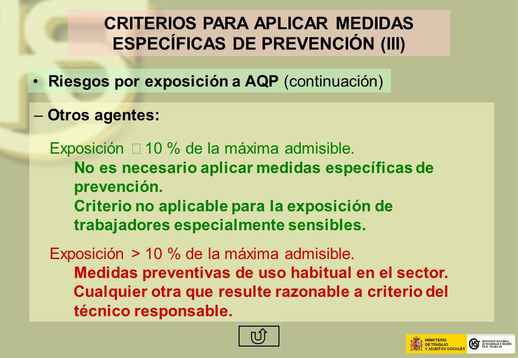 CRITERIOS PARA APLICAR MEDIDAS ESPECÍFICAS DE PREVENCIÓN (III)