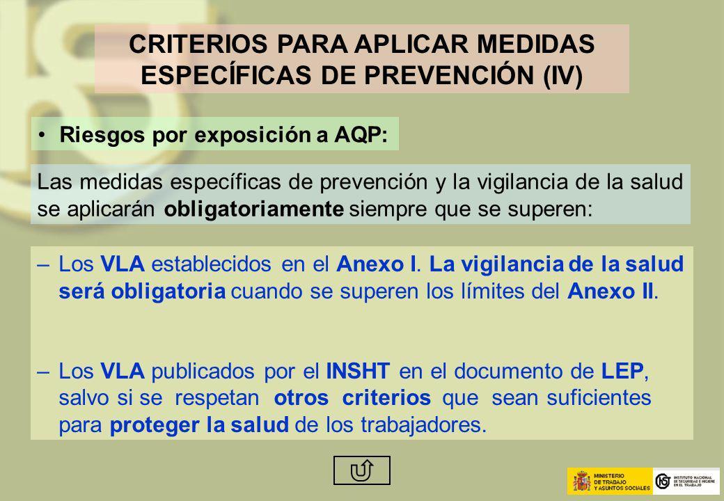 CRITERIOS PARA APLICAR MEDIDAS ESPECÍFICAS DE PREVENCIÓN (IV)