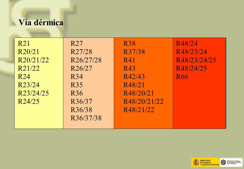 Vía dérmica R21 R27 R38 R48/24 R20/21 R27/28 R37/38 R48/23/24