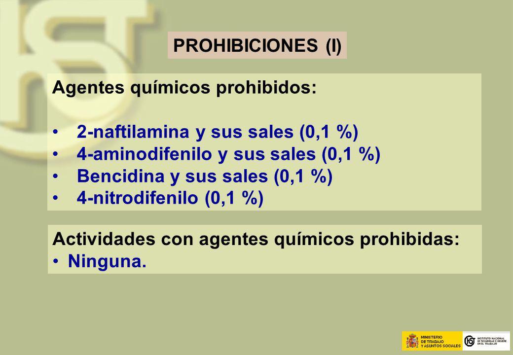 PROHIBICIONES (I) Agentes químicos prohibidos: 2-naftilamina y sus sales (0,1 %) 4-aminodifenilo y sus sales (0,1 %)
