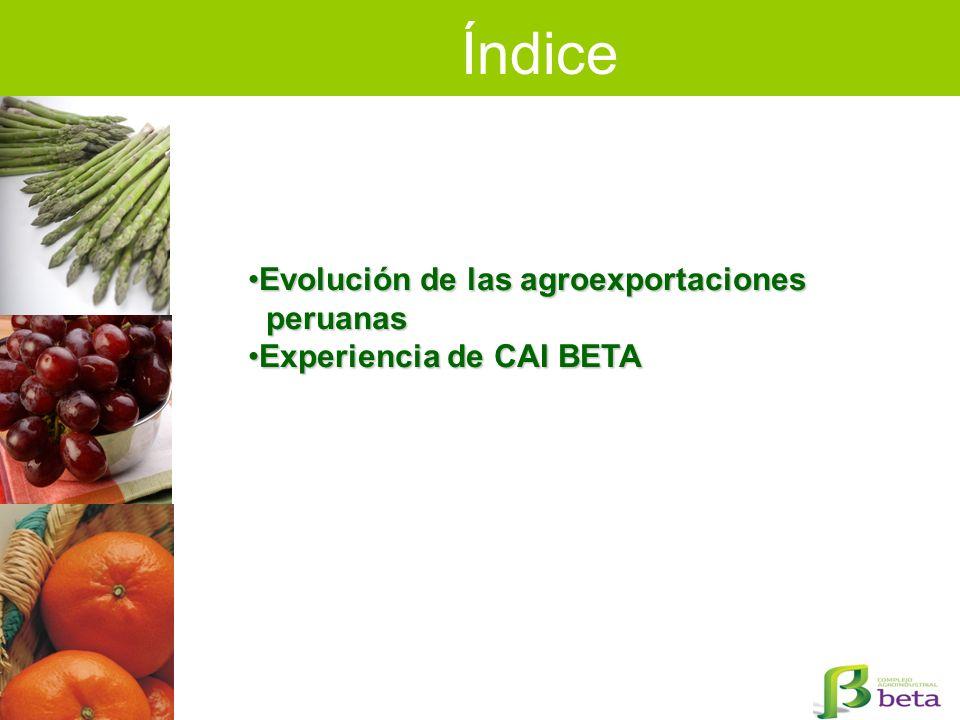 Índice Evolución de las agroexportaciones peruanas