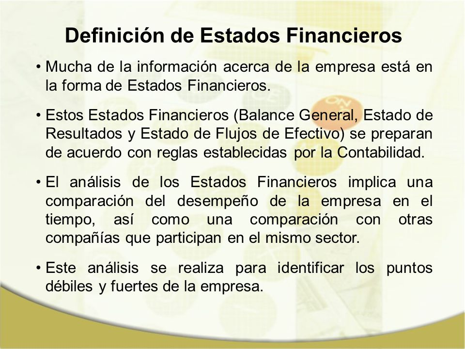 Definición de Estados Financieros