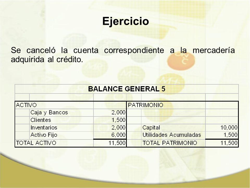 Ejercicio Se canceló la cuenta correspondiente a la mercadería adquirida al crédito.