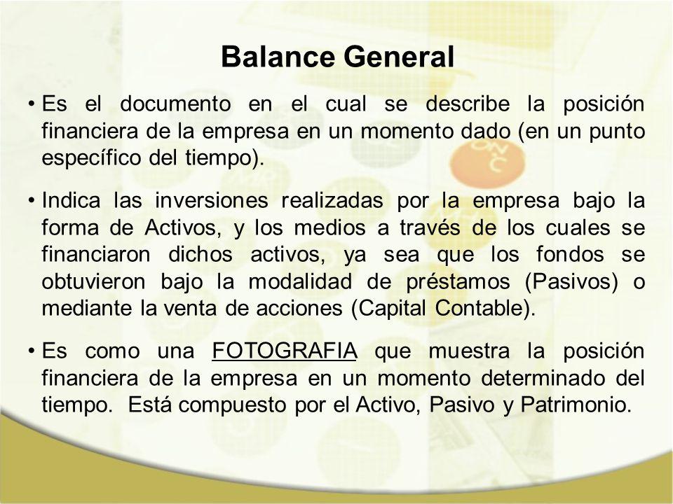 Balance General Es el documento en el cual se describe la posición financiera de la empresa en un momento dado (en un punto específico del tiempo).