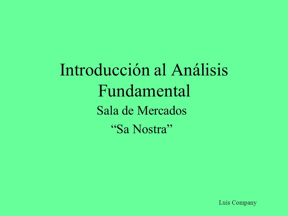 Introducción al Análisis Fundamental