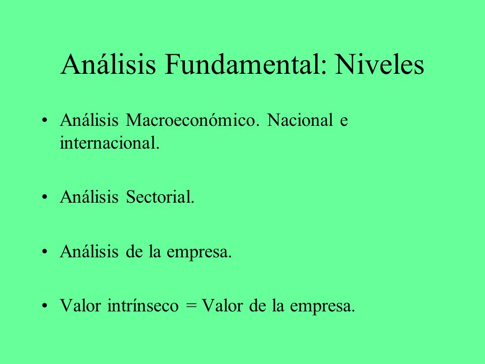 Análisis Fundamental: Niveles