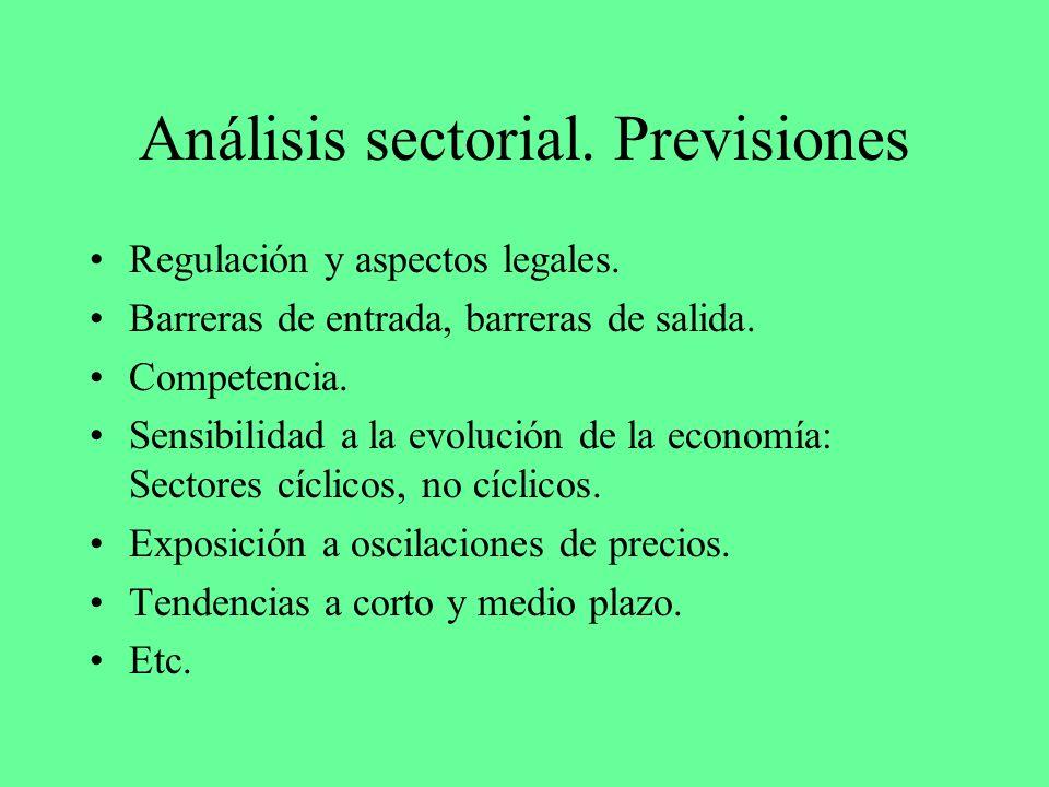 Análisis sectorial. Previsiones