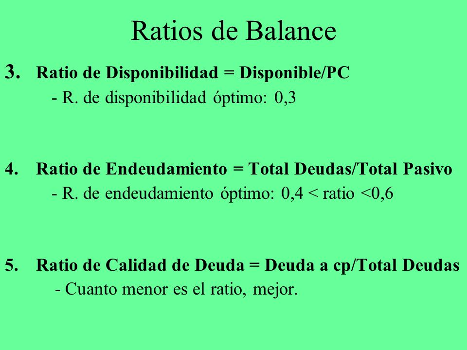 Ratios de Balance 3. Ratio de Disponibilidad = Disponible/PC
