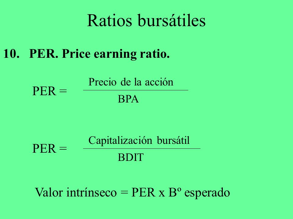 Ratios bursátiles 10. PER. Price earning ratio. PER = PER =