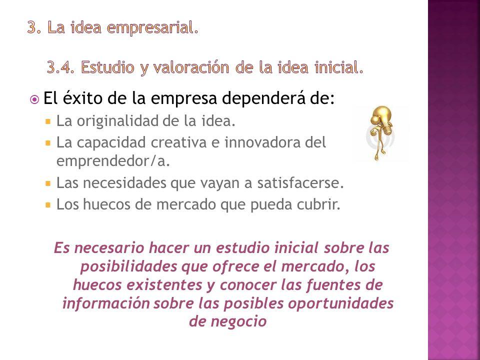 3. La idea empresarial. 3.4. Estudio y valoración de la idea inicial.
