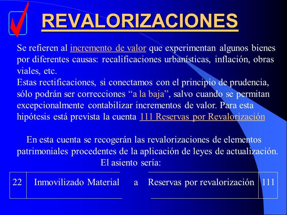 REVALORIZACIONES Se refieren al incremento de valor que experimentan algunos bienes.