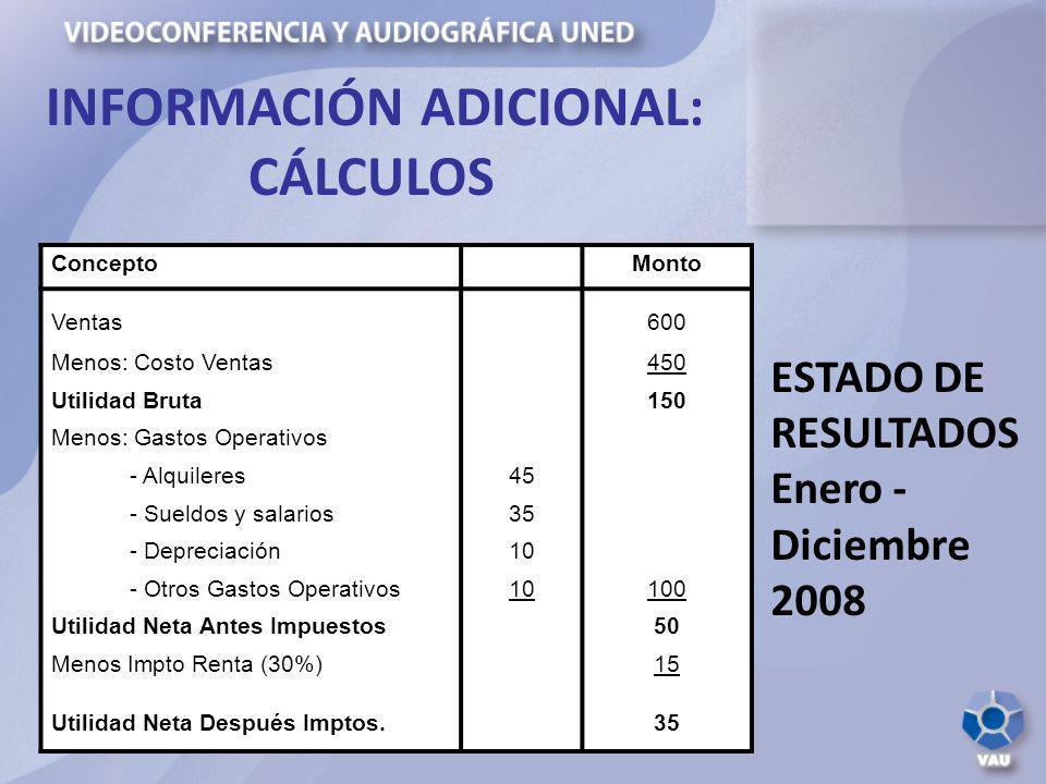 INFORMACIÓN ADICIONAL: CÁLCULOS