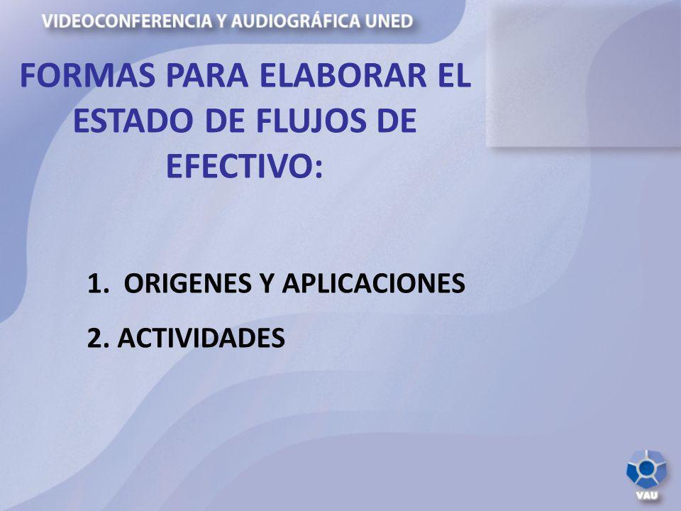 FORMAS PARA ELABORAR EL ESTADO DE FLUJOS DE EFECTIVO:
