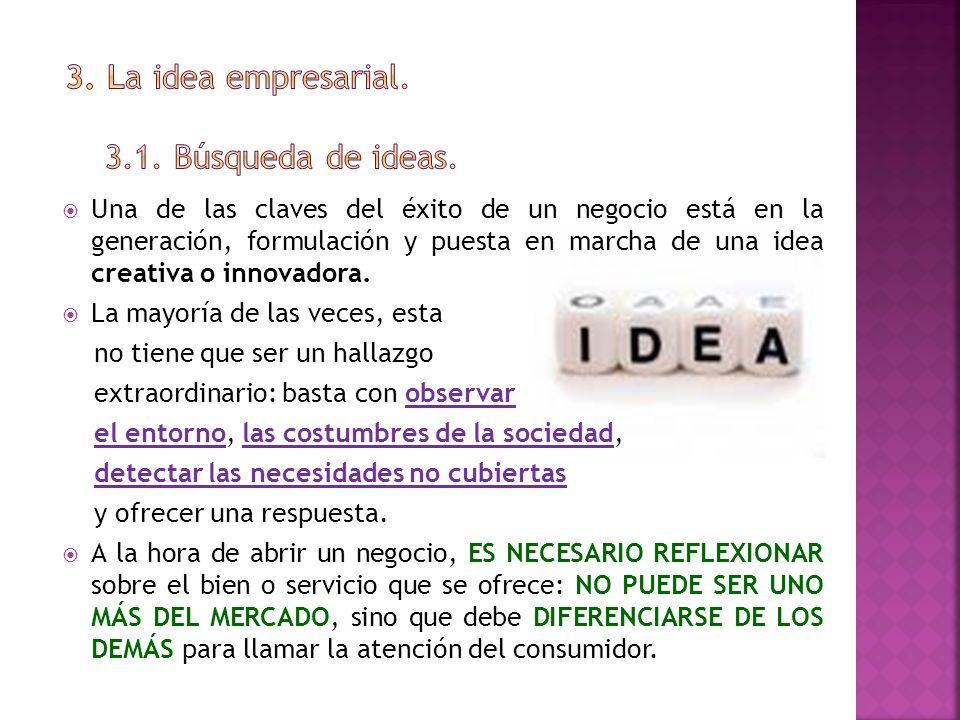 3. La idea empresarial. 3.1. Búsqueda de ideas.