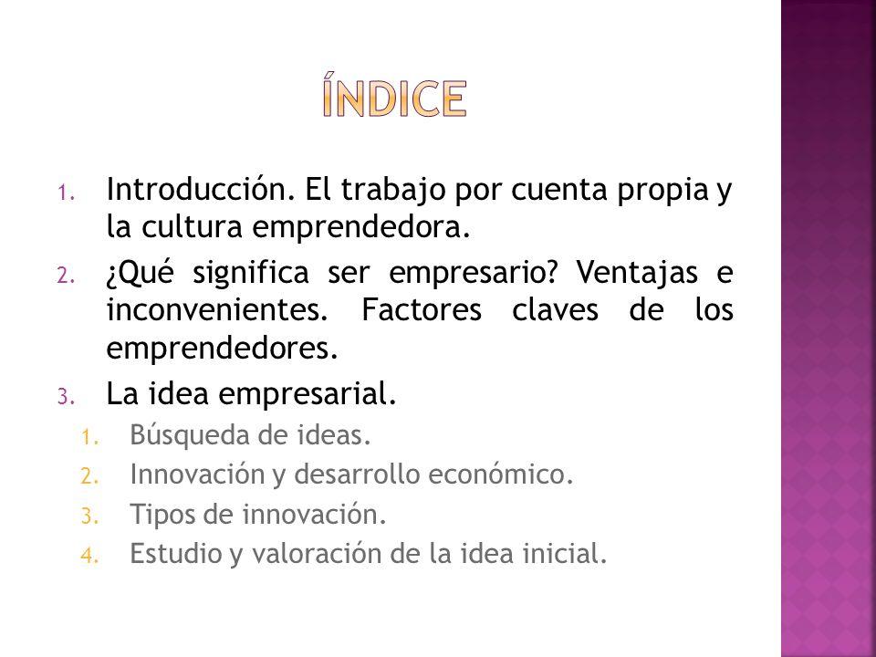 ÍNDICE Introducción. El trabajo por cuenta propia y la cultura emprendedora.