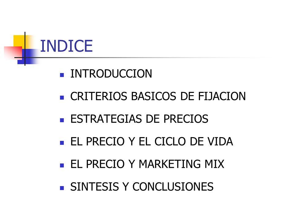 INDICE INTRODUCCION CRITERIOS BASICOS DE FIJACION