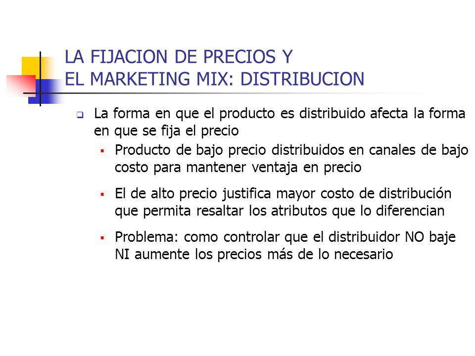 LA FIJACION DE PRECIOS Y EL MARKETING MIX: DISTRIBUCION