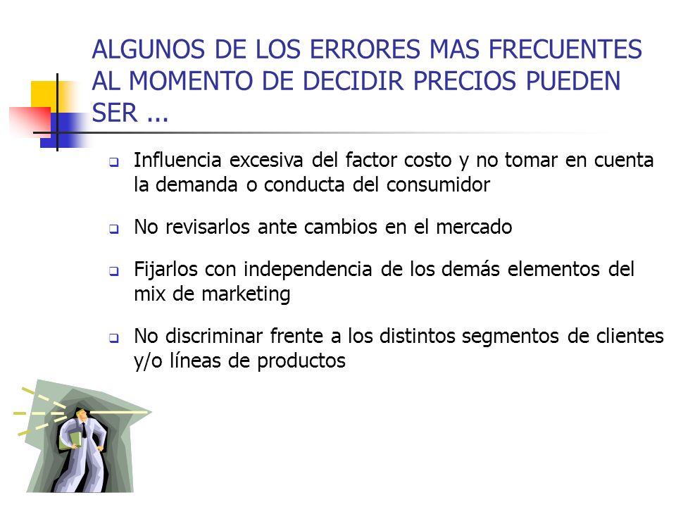 ALGUNOS DE LOS ERRORES MAS FRECUENTES AL MOMENTO DE DECIDIR PRECIOS PUEDEN SER ...