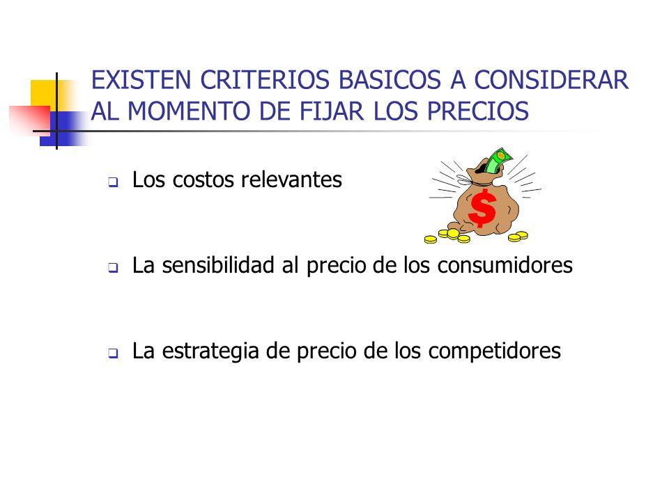 EXISTEN CRITERIOS BASICOS A CONSIDERAR AL MOMENTO DE FIJAR LOS PRECIOS