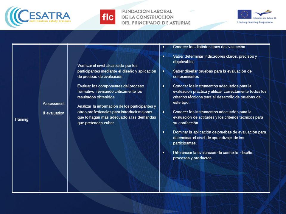 TrainingAssessment & evaluation. Verificar el nivel alcanzado por los participantes mediante el diseño y aplicación de pruebas de evaluación.
