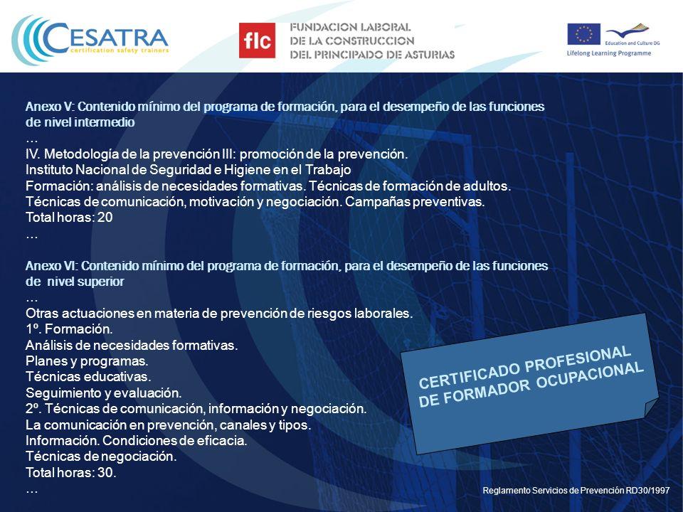 CERTIFICADO PROFESIONAL DE FORMADOR OCUPACIONAL