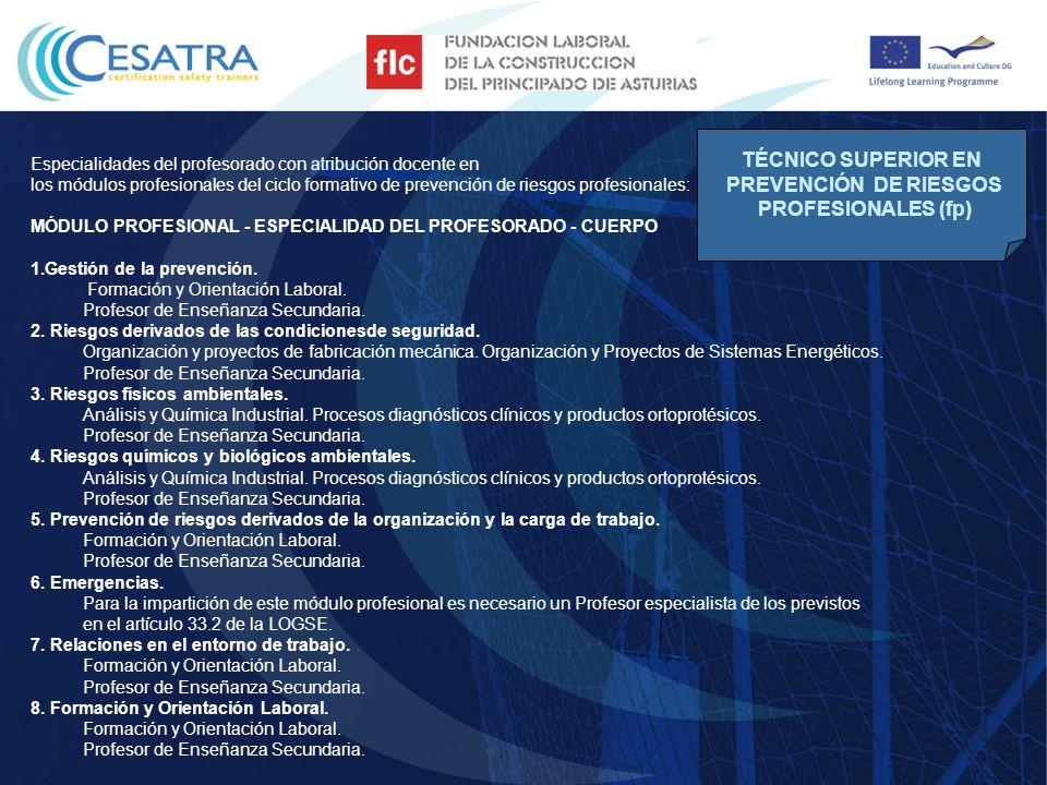 TÉCNICO SUPERIOR EN PREVENCIÓN DE RIESGOS PROFESIONALES (fp)
