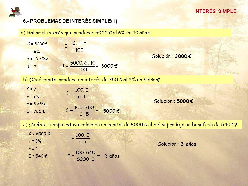 6.- PROBLEMAS DE INTERÉS SIMPLE(1)
