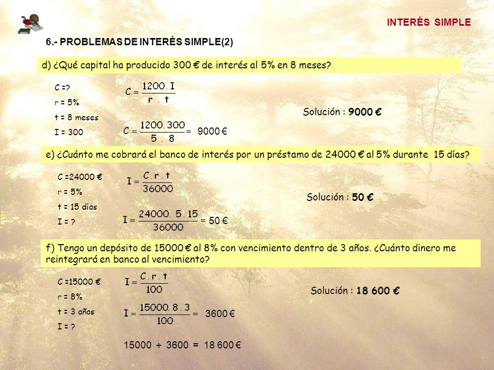 6.- PROBLEMAS DE INTERÉS SIMPLE(2)