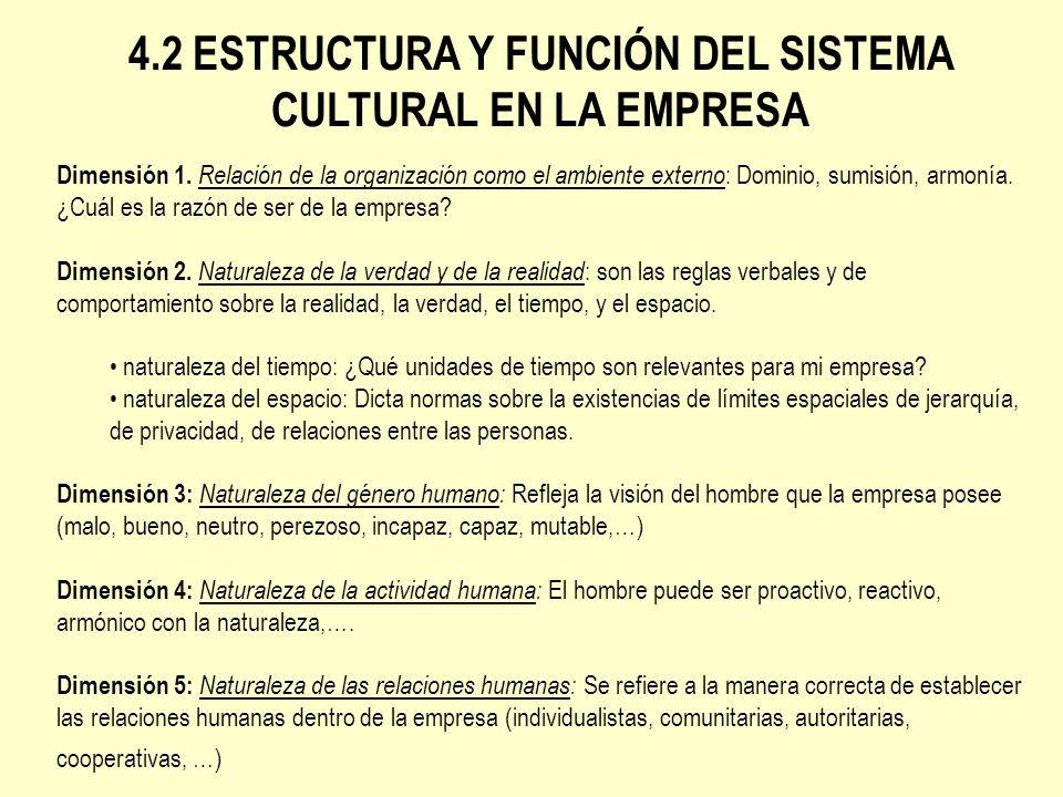 4.2 ESTRUCTURA Y FUNCIÓN DEL SISTEMA CULTURAL EN LA EMPRESA