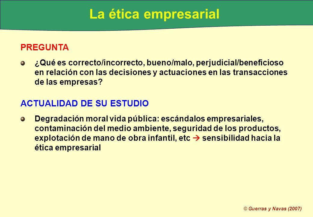 La ética empresarial PREGUNTA ACTUALIDAD DE SU ESTUDIO