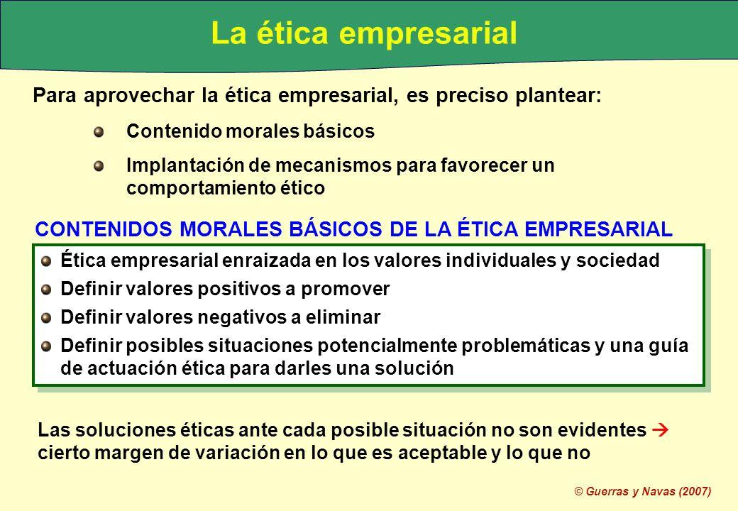 La ética empresarial Para aprovechar la ética empresarial, es preciso plantear: Contenido morales básicos.